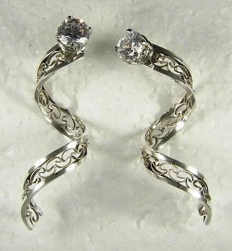 Sterling Silver Dangle Spiral Earring Jackets